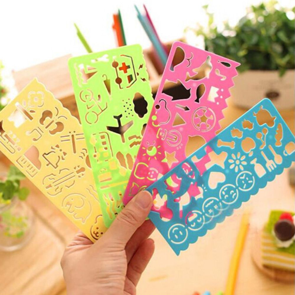 4PCS/Set Cute Art Graphics Symbols Drawing Template Stationery Candy Color Ruler Student Kids Drafting Stencil Ruler Stationery