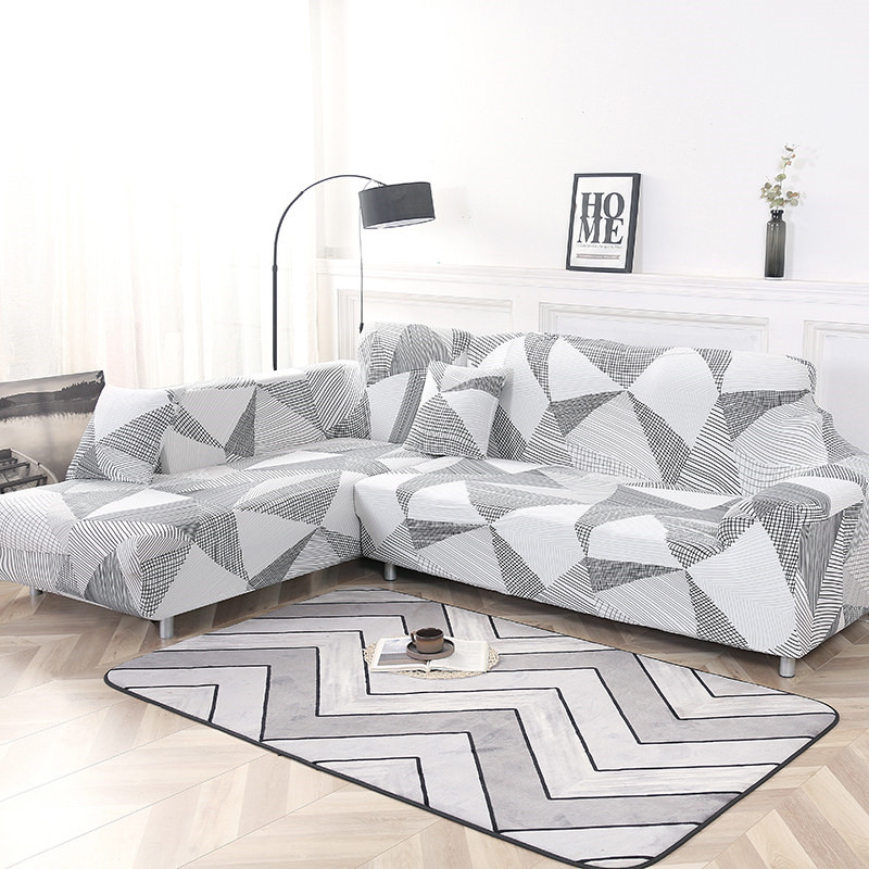 2 Piece Sofa Cover for L Shaped Corner Couch with Double Reinforcement Suitable for Living Room