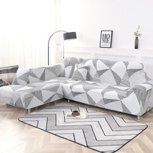 Funda de sofá elástica de algodón que necesita pedir 2 fundas para sofá seccional en forma de L para la vida habitación de Color sólido