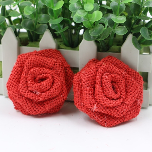 New Design Jute Burlap Hessian Red Flower Rose Handmade Wedding