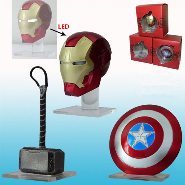 [ With Display Stand ] 3pcs Captain America Shield Iron Man's Helmet Thor Hammer Avengers endgame figure action anime figure toy | american girl doll