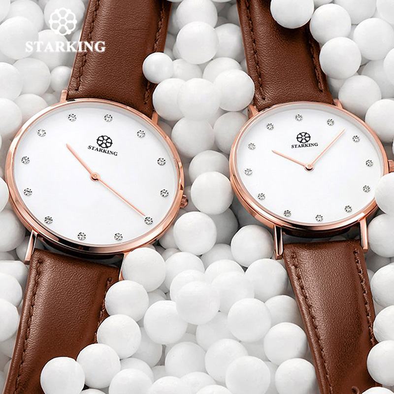 STARKING 6MM Luxury Casual New Relogio Couple Watches Pair Men And Women Quartz Slim Simple Style Leather Wrist Watches Hodinky girls xiaoqing new style joker watches girl students simple trend ulzzang leisure retro wrist watches