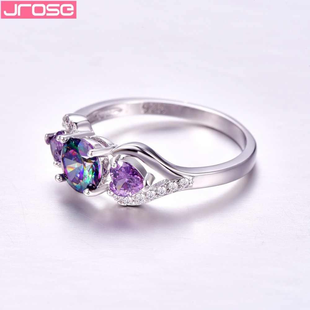 JROSE ขายร้อน Mystic Rainbow Multicolor & Purple & White Cubic Zirconia แหวนเงินขนาด 6 7 8 9 แฟชั่นผู้หญิงแหวน