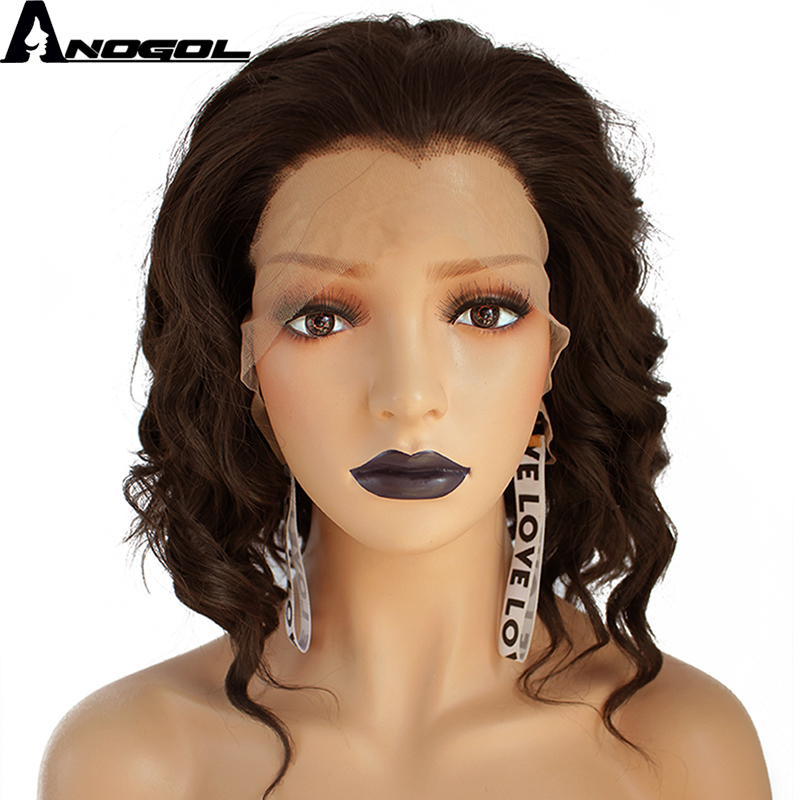 Anogol Water Wave Short Bob Hand Tied High Temperature Fiber Dark Brown Synthetic Lace Front Wig For Women With Widow Peak