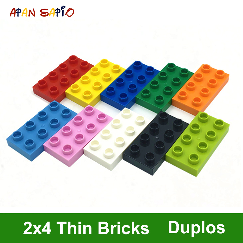 Big Size DIY Building Blocks Thin Figures Bricks 2x4Dot 12PCS Educational Creative Toys For Children Compatible With Brands