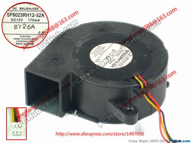 Free Shipping For SF6023RH12-52A DC 12V 170mA 3-wire 3-pin connector 100mm 60x60x25mm Server Blower Cooling fan ripani 6023 mm rip 00004 ecru