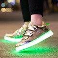 2017 Sapatos de Alta Qualidade Led Schoenen Criança Até a Luz Lumineuse Homme Chaussures Para Sapatas Do Miúdo Crianças Luminosas