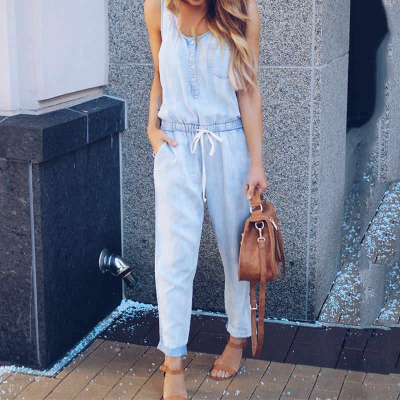 2018 модные женские туфли женские без рукавов джинсовые комбинезоны, ромперы синий Повседневное комбинезон длинные Пляжная, с пуговицами Свободные Комбинезоны с карманами