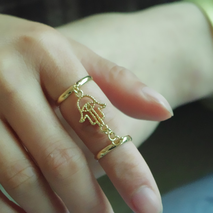 SHUANGR New Fashion Above the Knuckle Ring Top of Finger Gold Double