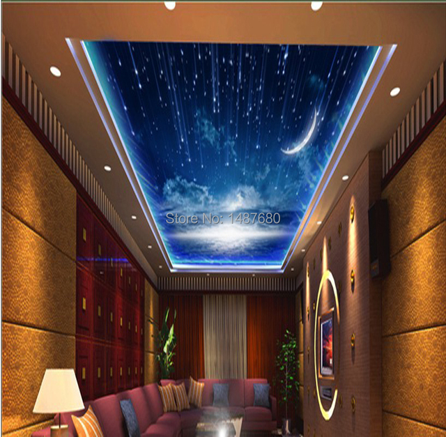 beibehang starry sky photo wall paper roll tv background silk cloth 3d wallpaper large wall. Black Bedroom Furniture Sets. Home Design Ideas