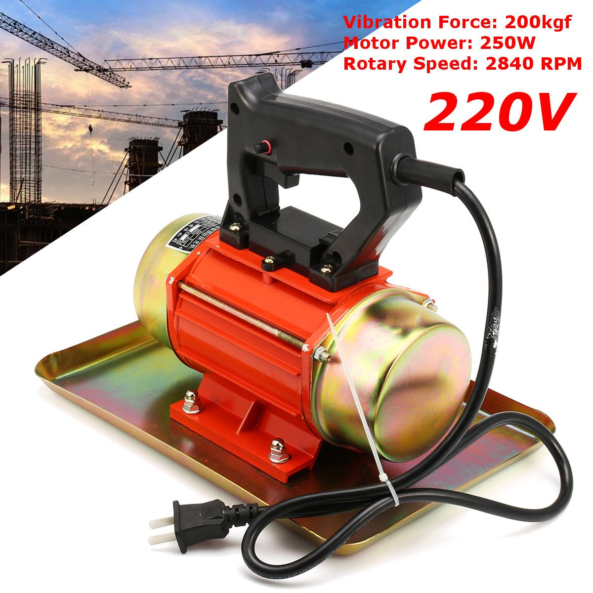 220V 250W 200kgf 2840RPM Table Motion Concrete Vibrator Motor Portable Construction Tool Hand-held Concrete Vibrator Motor