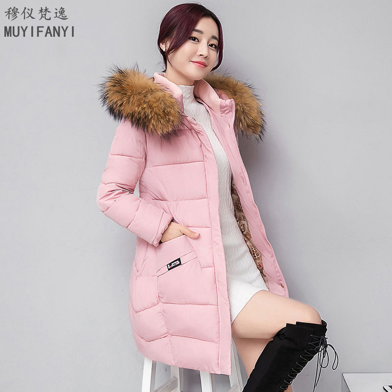 Fashion Winter Jacket Women Faux Large Fur Collar Hooded Parka Thick Warm Cotton-Padded Winter Long Coat Outerwear women thick winter large size long section padded hooded outerwear new fashion fur collar slim padded cotton warm coat jacket