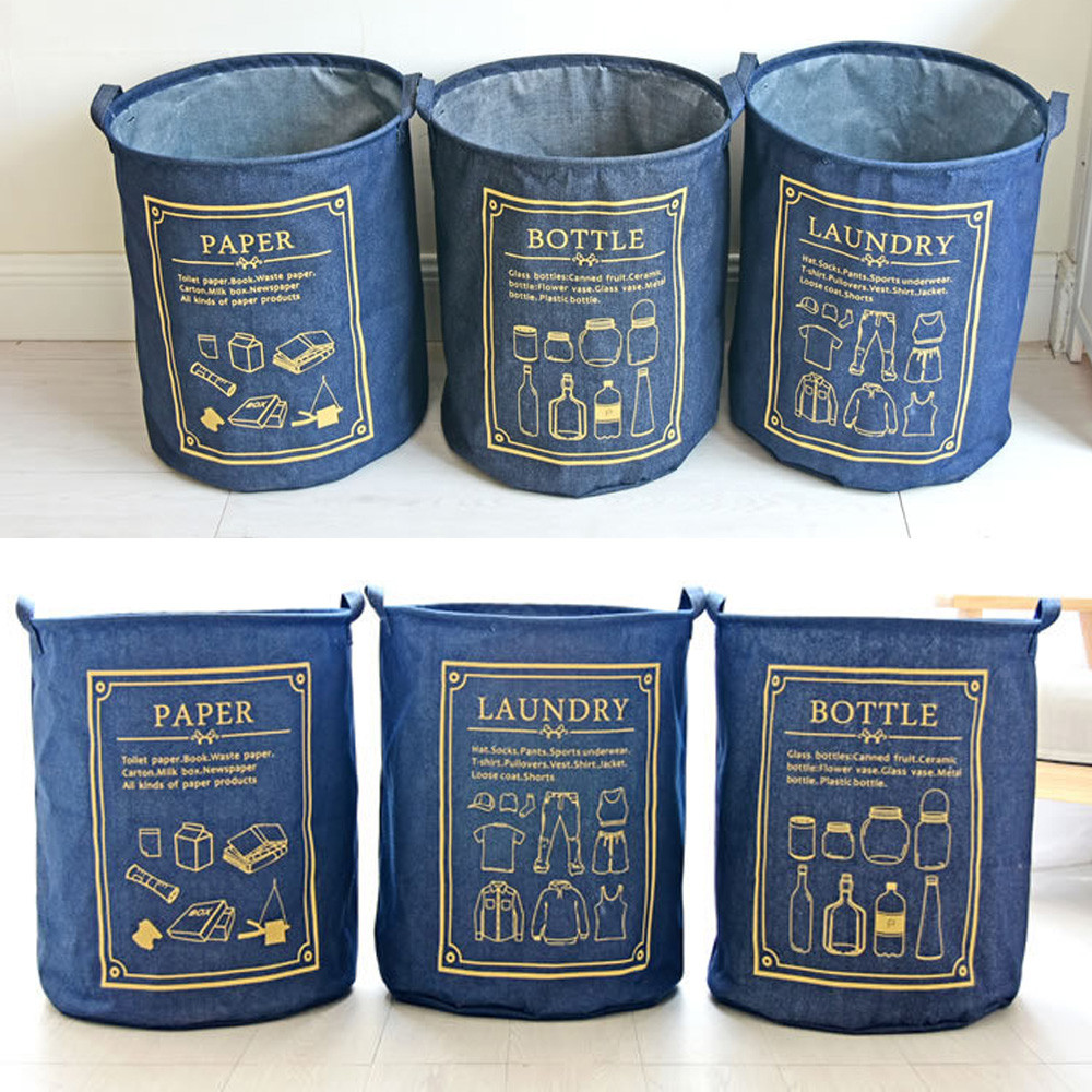 Cotton + waterproof PE Foldable Dirty Clothes Laundry Storage Basket Large Basket organizer For kids Toy Clothing Storage Bags