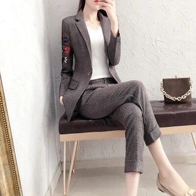 Bordado Xadrez das mulheres terno de negócio da moda terno feminino terno carreira jaqueta seções longas temperamento casual two piece pantsut - 2