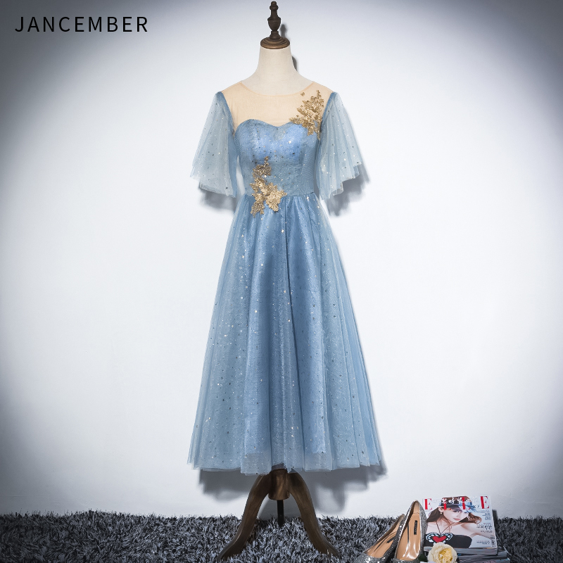 JANCEMBER 2019 Latest   Cocktail     Dresses   Illusion O Neck Tulle Cap Sleeve Gold Pearl Applique Pattern Open Keyhole Back sukienka