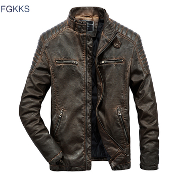 FGKKS Brand Leather Jacket Men Coats 2019 Winter Male Solid Color High Quality PU Jackets Outerwear Men's Leather Jackets