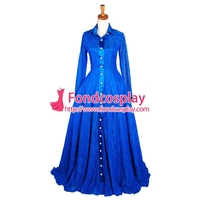 blue lace dress gothic lolita long gown cosplay costume Tailor made[G1630]