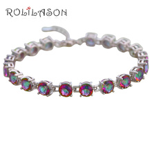 ROLILASON Top Sell Friendship Bracelets Rainbow Mystic Zircon Silver Plated Wedding Fashion Jewelry for Women TB1104