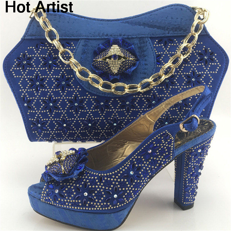 Hot Artist Africa Style Rhinestone Woman Shoes And Bag Set Hot Sale Summer High Heels Shoes And Bag Match Set For Party ME7713 цена
