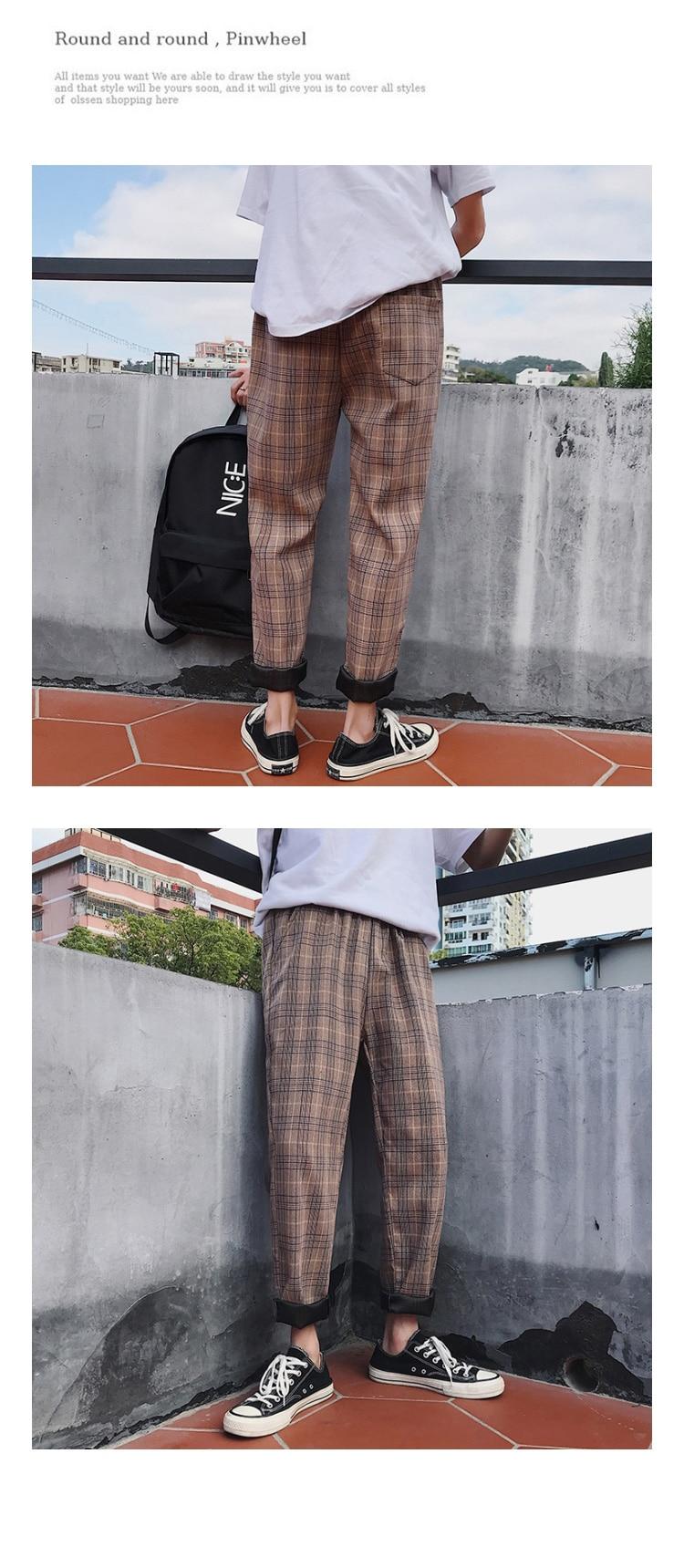 LAPPSTER Streetwear Yellow Plaid Pants Men Joggers 19 Man Casual Straight Harem Pants Men Korean Hip Hop Track Pants Plus Size 30