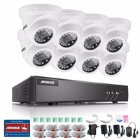 ANNKE 720P 16CH CCTV System 5IN1 DVR 8pcs 720P 1500TVL IR Outdoor Waterproof CCTV Security Cameras