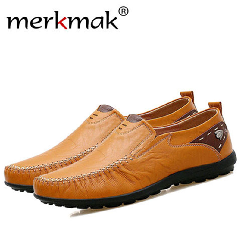 Merkmak Casual Driving Men Shoes Fashion Soft Genuine Leather Breathable Loafer Luxury Brand Man Flats Size 38-47 Shoes Dropship bimuduiyu new england style men s carrefour flat casual shoes minimalist breathable soft leisure men lazy drivng walking loafer