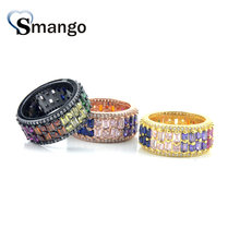 5Pieces,Women Fashion Jewelry,The Rainbow Series Double-Deck Shape Rings, 3 Colors, Can Wholesale