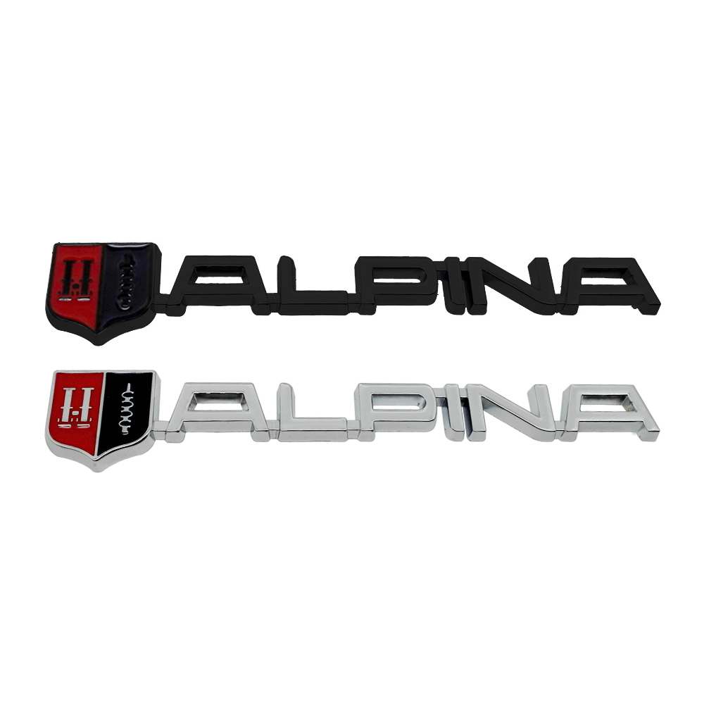 Matte Black Metal ALPINA Side Badge Rear Trunk Sport Racing Emblem Sticker Decal