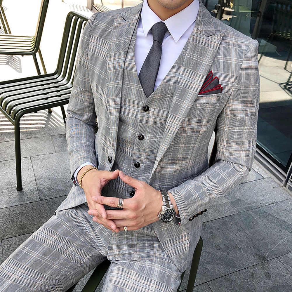 (ジャケット + パンツ + ベスト) 四季新ファッションメンズ野生のビジネスタキシードカジュアルユーストレンド新しいウェディングチェック柄スーツ