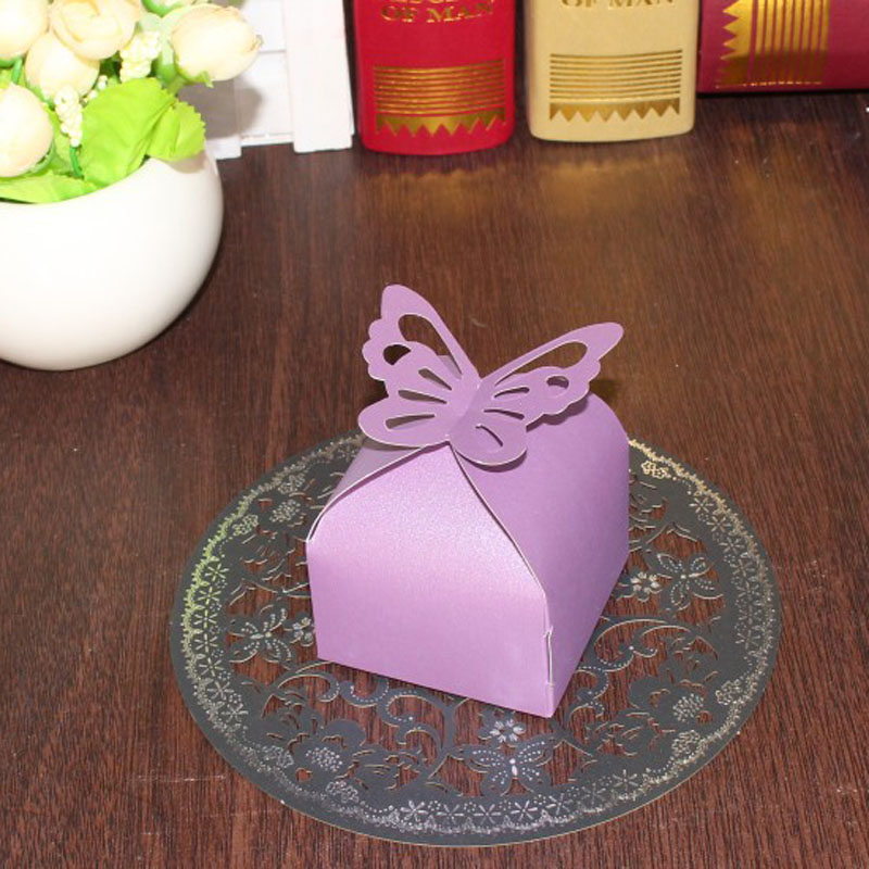 Wedding decoration 50pcs folding diy purple butterfly for Wedding mailbox decorating ideas