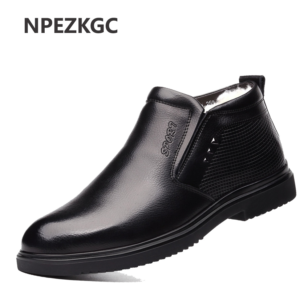Genuine Leather Ankle Boots For Male Botas Plush Men Boots Warm Winter Shoes With Fur Fashion