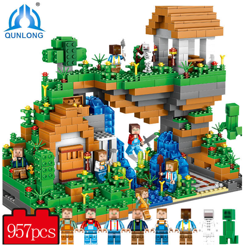 957pcs ABS Plastic Blocks Figures Toy For Kids Compatible With Legoe Minecraft City Building Blocks Set Education Boy Girl Gift qunlong my world yarresse mine building blocks compatible with legoe minecraft city bricks action figures toy for boy girl gift