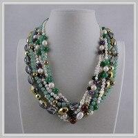 Уникальный жемчуг ювелирный магазин, 7 рядов зеленый нефрит Кристалл бусины белый пресноводный жемчуг цепочки и ожерелья, идеальный для жен
