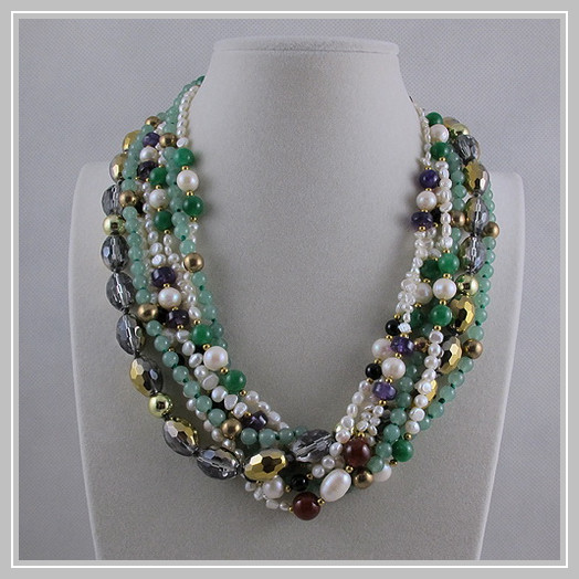 Unique Pearls jewellery Store,7rows Green Jades Crystal Beads White Freshwater Pearl Necklace,Perfect Women Gift JewelryUnique Pearls jewellery Store,7rows Green Jades Crystal Beads White Freshwater Pearl Necklace,Perfect Women Gift Jewelry