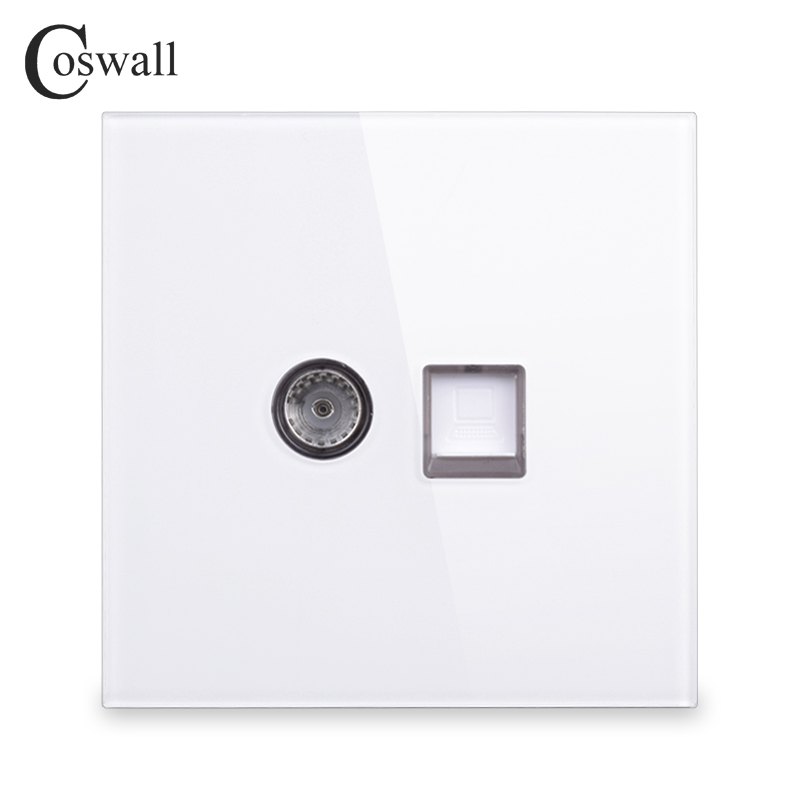 цена на Coswall 2018 New Arrival Crystal Tempered Glass Panel RJ45 Internet Jack With TV Outlet Wall Data Computer Socket