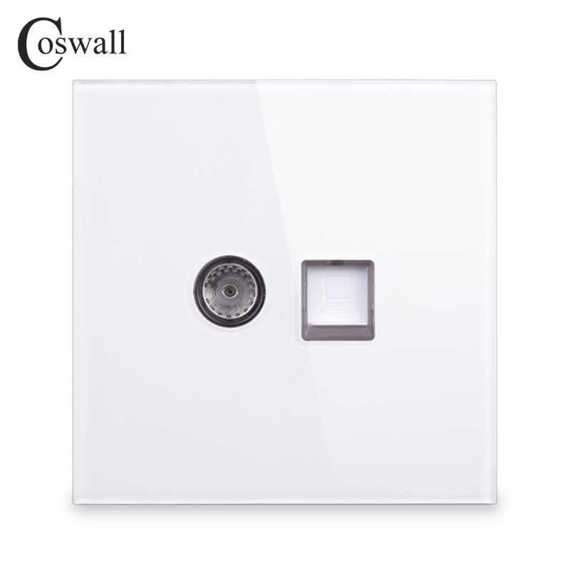 Coswall 2018 New Arrival Crystal Tempered Glass Panel RJ45 Internet Jack With TV Outlet Wall Data Computer Socket