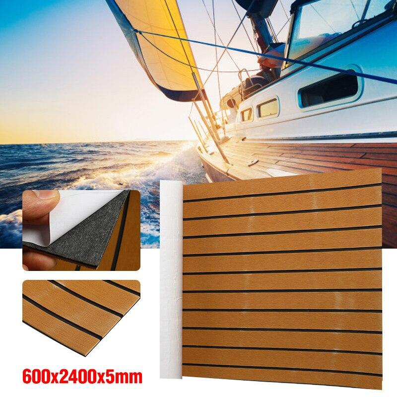 240 cm x 60 cm auto-adhésif mousse teck bateau platelage EVA mousse Marine plancher Faux Yacht Marine platelage feuille accessoires brun noir