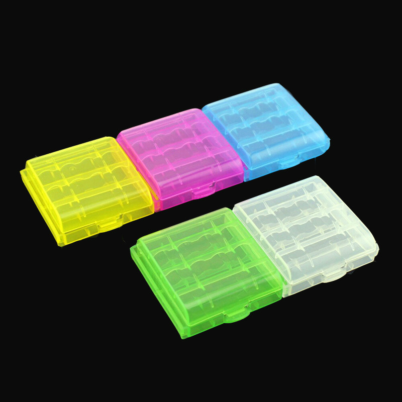 New 2017 Coloful Battery Holder Case 4 AA AAA Hard Plastic Storage Box Cover For 14500 10440 Battery