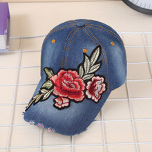 New Women Baseball Caps Denim Snapback Hat Floral Embroidery Female Bone Hip Hop Hats Casual gorro feminino Fashion Accessories