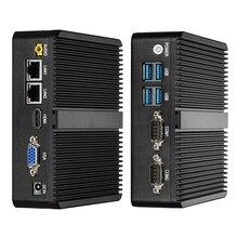 Мини-ПК Windows 10 Celeron 3755 J1800 J1900 Pentium 3805U мини-компьютер двойной гигабитный Ethernet 2x RS232 Порты 4x USB pfSense