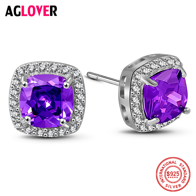 Purple Crystal AAA Zircon Earrings 925 Silver Fashion Charm Women 100% Sterling Stud Jewelry