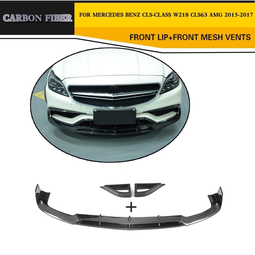 Carbon Fiber Car Front Lip Splitters for Mercedes Benz CLS-Class W218 CLS63 AMG Sedan 4-Door 2015-2017 2010 2014 mercedes benz cls63 amg black weathertech cargo liners