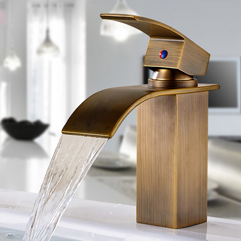 Antique Brass Deck Mounted Bathroom Sink Faucet Single Handle Basin Mixer Tap Waterfall Spout Tap modern style golden color bathroom sink faucet single handle mixer tap solid brass deck mounted