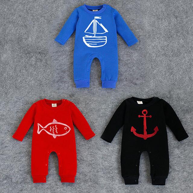 Mamelucos del bebé de algodón rojo azul ropa para bebé chicas ropa trajes de mono Vetement cuerpo Bebes bebé largo de la manga trajes