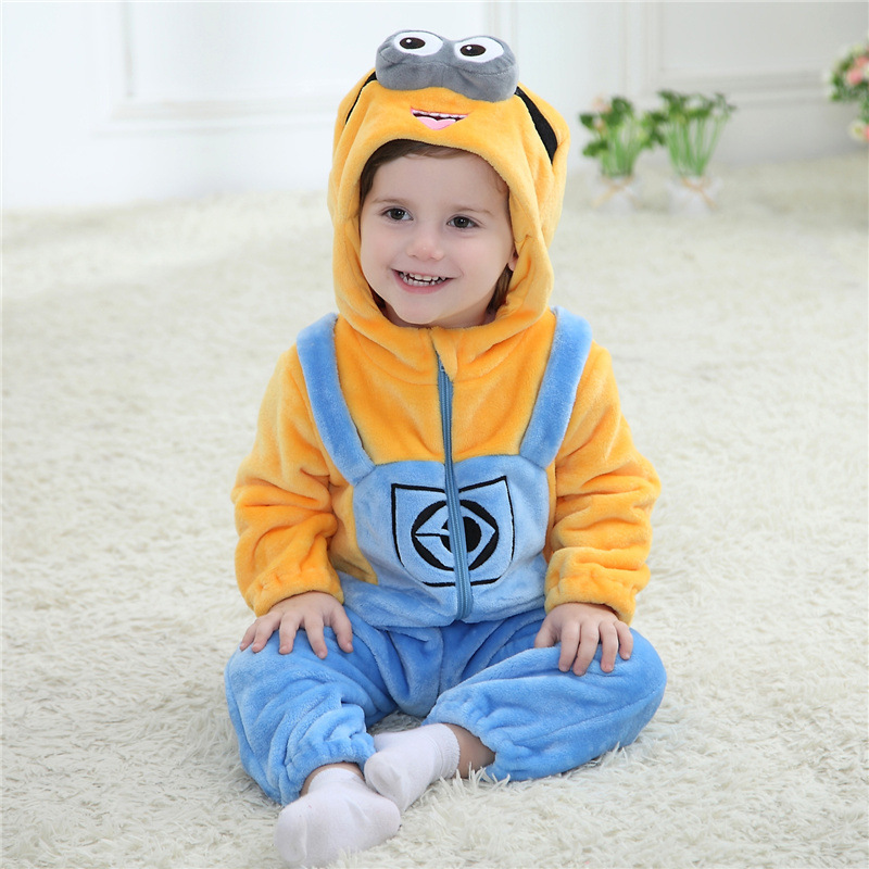 Baby Boy Girl Hooded Rompers Animal Cosplay Costume Newborn Infant Jumpsuit Minions Clothes fashion baby clothes cartoon baby boy girl rompers cotton animal and fruit pattern infant jumpsuit hat set newborn baby costumes