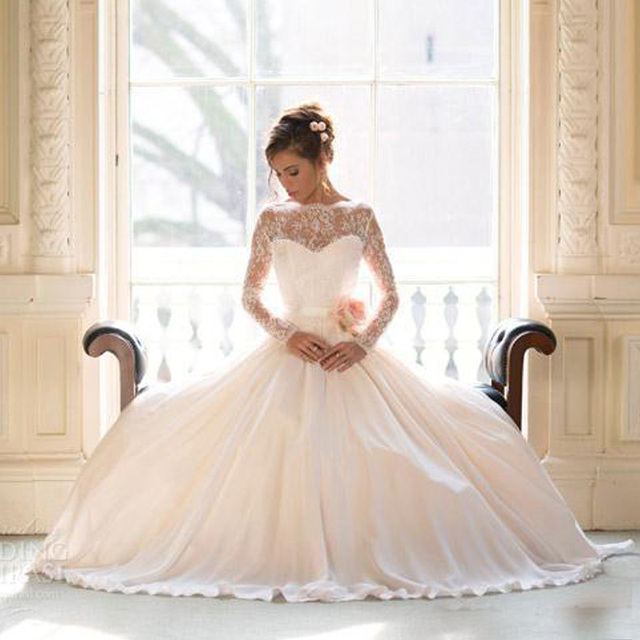 2017 Vintage Lace Wedding Dresses With Long Sleeves Plus Size ball ...