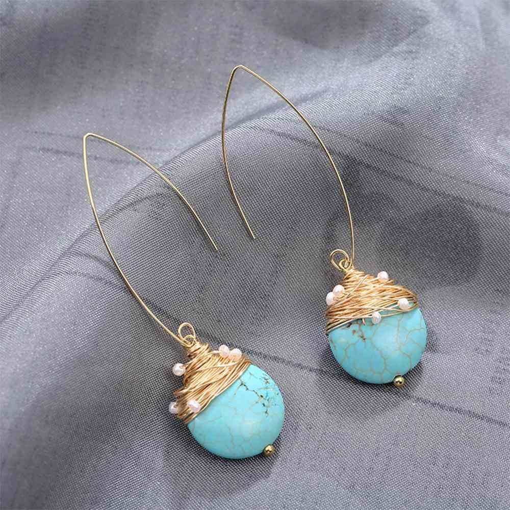 SETE MENINA real brincos de pérola de água doce brincos de pérola Natural Turquesa brincos para as mulheres brincos de pérolas de luxo