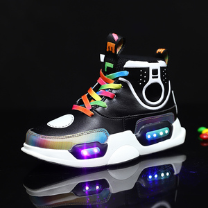 Image 4 - חורף חם נעלי אופנה Led אור עמיד למים לילדים נעלי בנות בני מגפי מושלם עבור ילדים אמיתי עור USB טעינה
