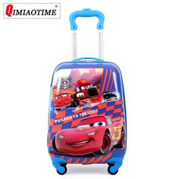 8699d4704 QIMIAOTIME 2019 dibujos animados chico es de viaje bolsas maleta para chico  niños equipaje rodante maleta de viaje caso bolsa las ruedas