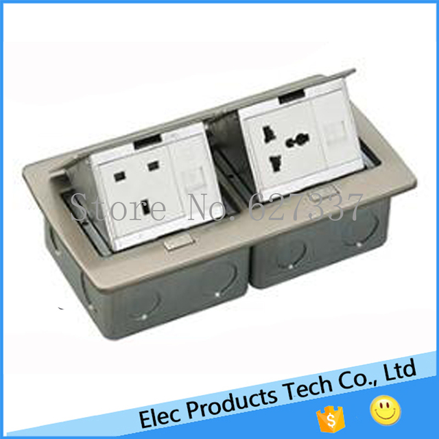 Stainless Cover Soft Pop Up Power Receptacle And Data Outlet Floor Box 50  Pcs/set